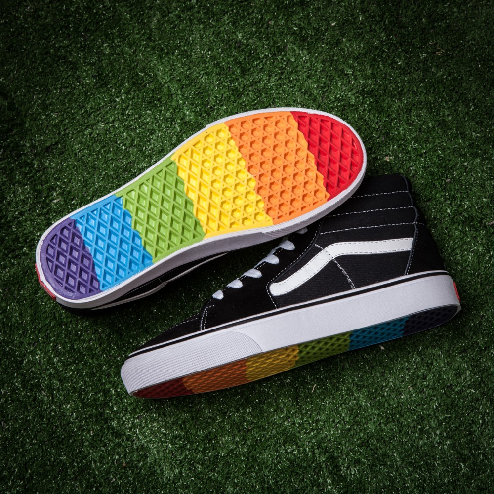 0fd52f47a8 Vans Sk8-Hi classic Mens Rainbow at the end of the classic high canvas shoes.  Mouse over to zoom in