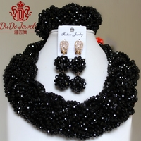 Fashionable Black Statement African Nigerian Necklace Set Bridal Women's Beads Jewellery Set Dubai Costume Indian Jewelry Set