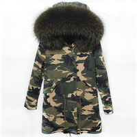 Winter Jacket Women Real Large Raccoon Fur Collar Parka Women Female Camouflage Long Coat Ladies Detachable
