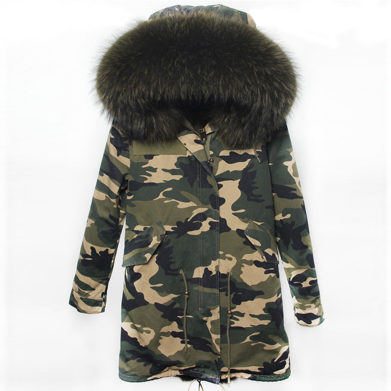 Winter Jacket Women Real Large Raccoon Fur Collar Parka Women Female Camouflage Long Coat Ladies Detachable Faux Fur Lined Parka printed long raccoon fur collar coat women winter real rabbit fur liner hooded jacket women bomber parka female ladies fp896