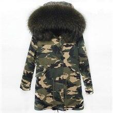 Winter Jacket Women Real Large Raccoon Fur Collar Parka Women Female Camouflage Long Coat Ladies Detachable Faux Fur Lined Parka
