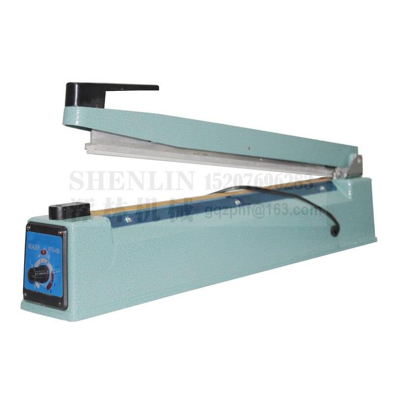 Ручной импульсный упаковщик SHENLIN, машина для запечатывания пластиковых пакетов, ручной упаковщик посылка вой фольги SF400 110 В/220 В 400 мм * 3 мм, металл-1