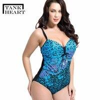 Tank Heart 3XL 7XL Plus Size One Piece Female Swimwear Women Swimsuit Bathing Suits Swimming Large