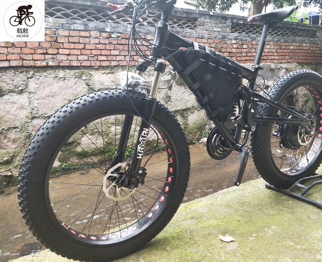 a2fa1579eb5 kalosse 21 AH 48V 1000W 27 speed Full suspension M4000 26*4.0 tires electric  Beach bicycle 26 inch electric Fat bike