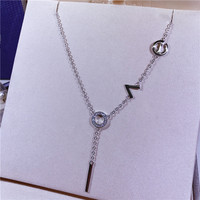 Simple S925 sterling silver LOVE necklace with micro inlaid rhinestone letters clavicle chain for women