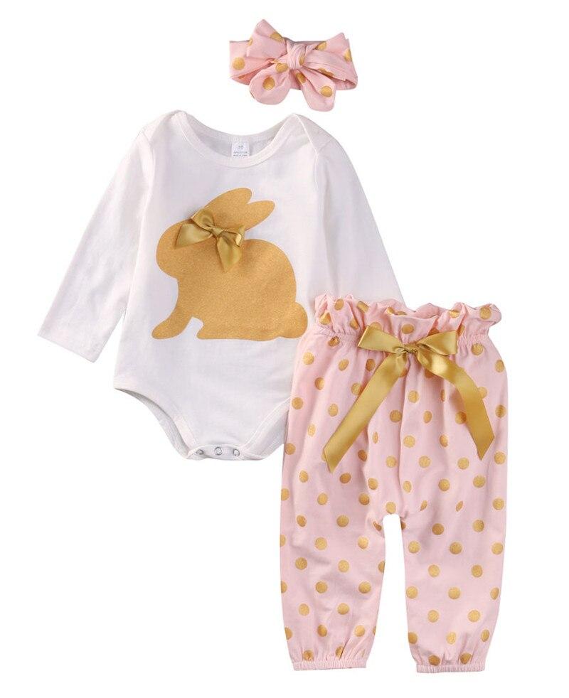 Infante appena nato Del Bambino Ragazze Che Coprono Manica Lunga ORO CONIGLIO Della Tuta Del Pagliaccetto Polka Dots Bow Pantaloni Fascia per Capelli Outfit 3 Pz Set 0-18 M