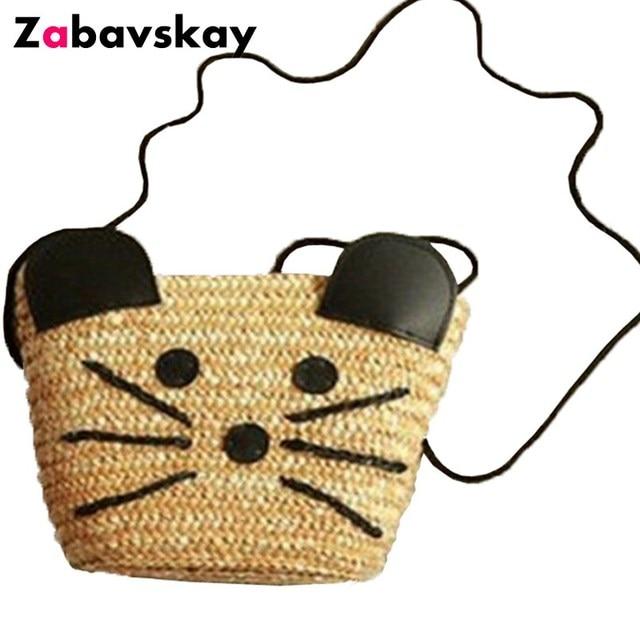 Hot 2018 Women Cute Cat Shape Bags Fashion Women s Beach Bag Straw Summer  Weave Woven Shopping 81b6d94339