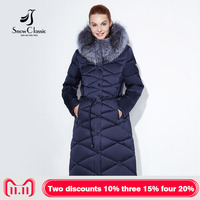 Women winter coat jacket women warm thick parka fox fur collar outwear fashion luxury big size 5xl X Long Slim Solid SnowClassic