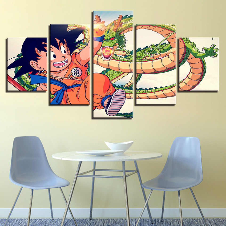 colomac Canvas HD Home Decor Printed 5 Panel Wukong Dragon Ball Framework for Room Wall Art Painting Pictures Poster