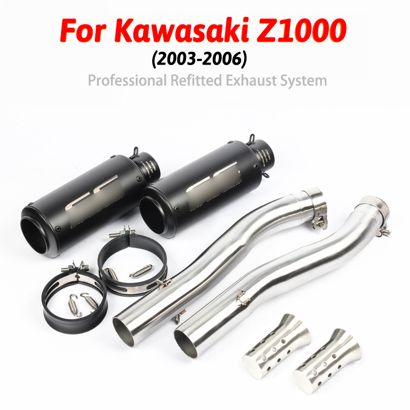 Mid-Pipe-Set Exhaust-Pipe Slip-On 2004 Motorcycle Kawasaki Z1000 2003 for 2004/2005/2006
