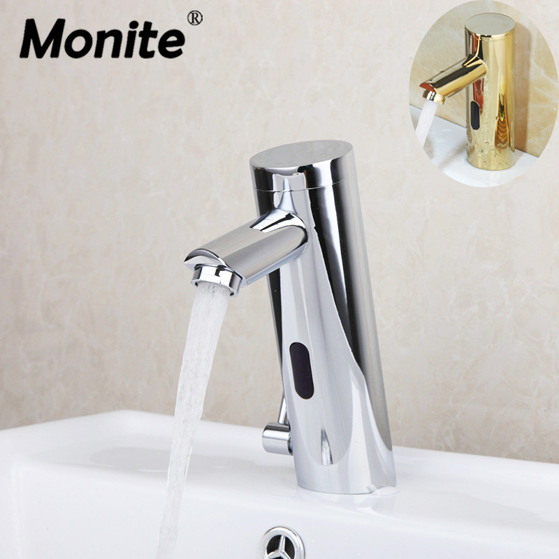 Monite Chrome Polished Golden Plated Basin Faucet Automatic Hands Touch Free Sensor Faucets Bathroom Brass Sink