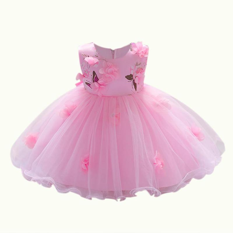 Sunmmer 3D Girls Baby Stereo Flowers Ball Gown Infants