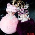 Free Shipping! Monchhichi Monchichi Soft Real Rabbit Fur Ball Plush Pompom Key Chain Car Women Handbag Key Ring Pendant Jewelry