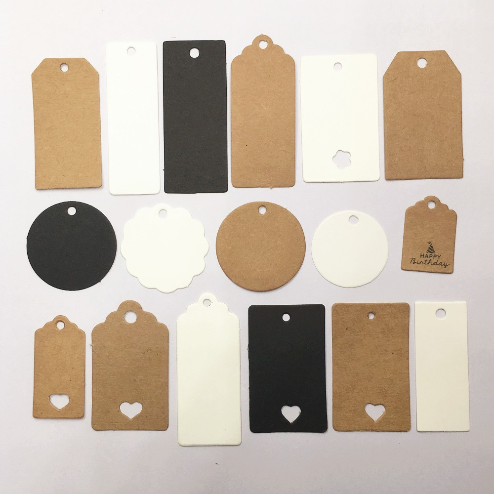 100pcs Kraft Paper Multi style Packaging Hang Tags Wedding/Birthday Party Candy Boxes Price Tags for Flower/Cosmetics Labels Garment Tags  - AliExpress
