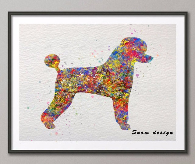 Original Basic Standard Poodle Watercolor Canvas Painting Dog Wall Art  Poster Print Pictures Living Room Home