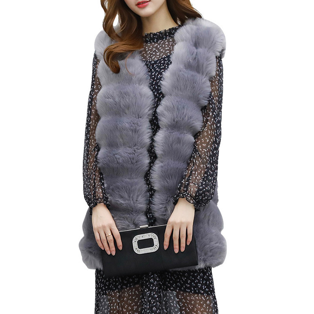 Fashion woman Full Pelt Skin Luxury Imitation fox fur Long vest black gray real Artificial hair fur Sleeveless loose thin coat