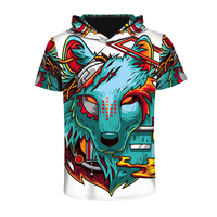 Wolf Hoofd Digitale Print Hooded T-shirts Vrouwen Korte Mouw o-hals T-shirt Casual Losse Tops Oversize Tees Punk Rock Jumpers
