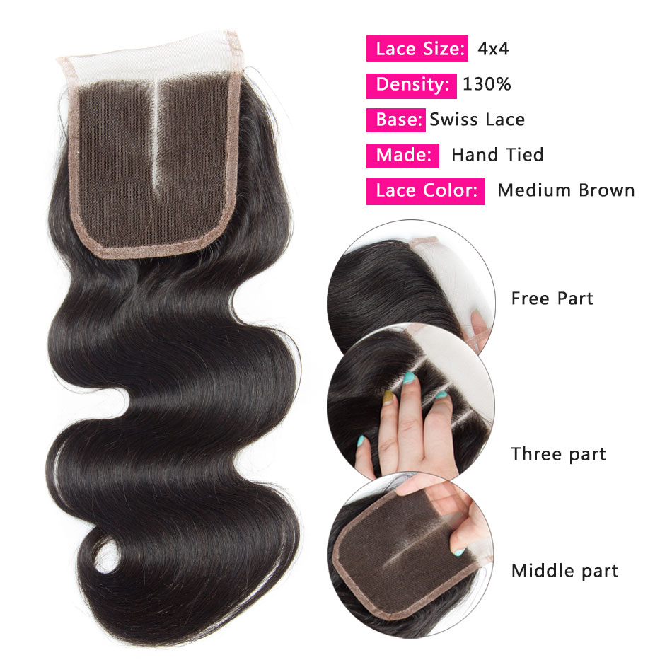 Image 3 - Alibele Brazilian Body Wave Bundles With Closure Hair Weave Bundle With Closure Remy Human Hair 3 Bundles With Lace Closure-in 3/4 Bundles with Closure from Hair Extensions & Wigs