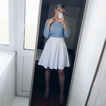 HYH haoyihui молнии Белая юбка Для женщин линии Высокая талия тонкий основной складки юбки женские элегантные вечерние миди юбка женский