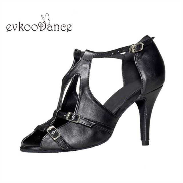 Comfortable Black Imitate Leather 8.5 cm Heel Height Salsa Size US 4-12  Latin Dancing Shoes For Women Open Toe NL156 41c436e3d55d