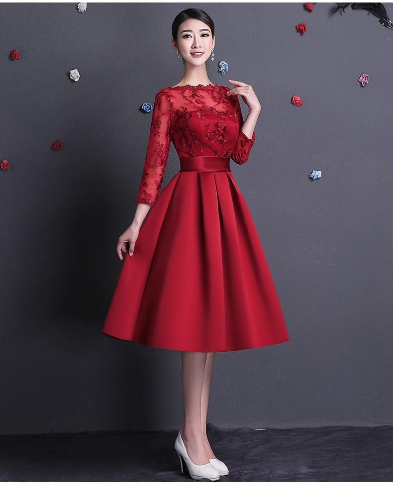 2017 Elegant Red Evening Dresses Boat Neck Backless 3/4