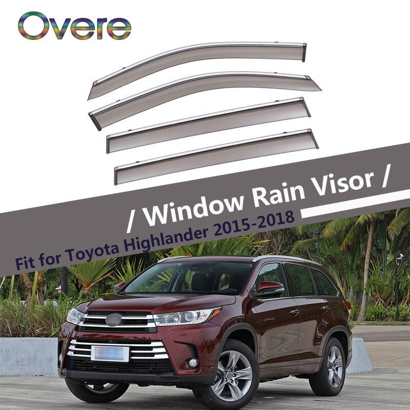 Overe 4 pièces/1 Set pare-pluie fenêtre fumée pour Toyota Highlander XU50 2015 2016 2017 2018 évent déflecteurs de soleil garde accessoires