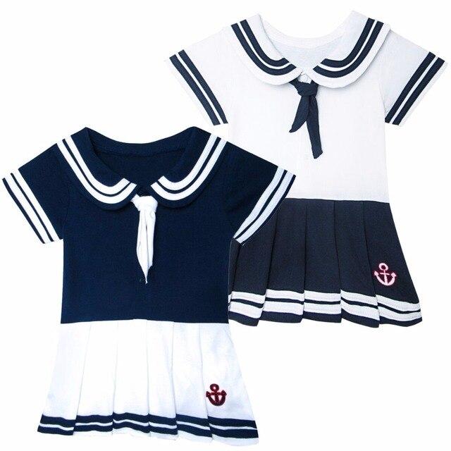 f8f1c3a98 Bebé niñas vestido de marinero niños Marina bodies corbata princesa vestido  de fiesta infantil bebé niño