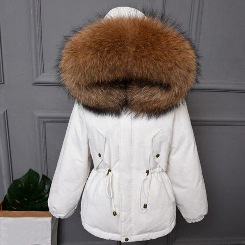 Большой натуральным мехом енота 2018 Новый женский пальто Высокое качество зимняя куртка Для женщин теплые свободные пуховая парка белая утк...