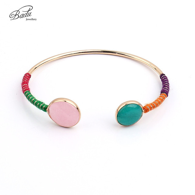 Badu Gold Color Bracelet Women Open Cuff Colored Round Stone 2017