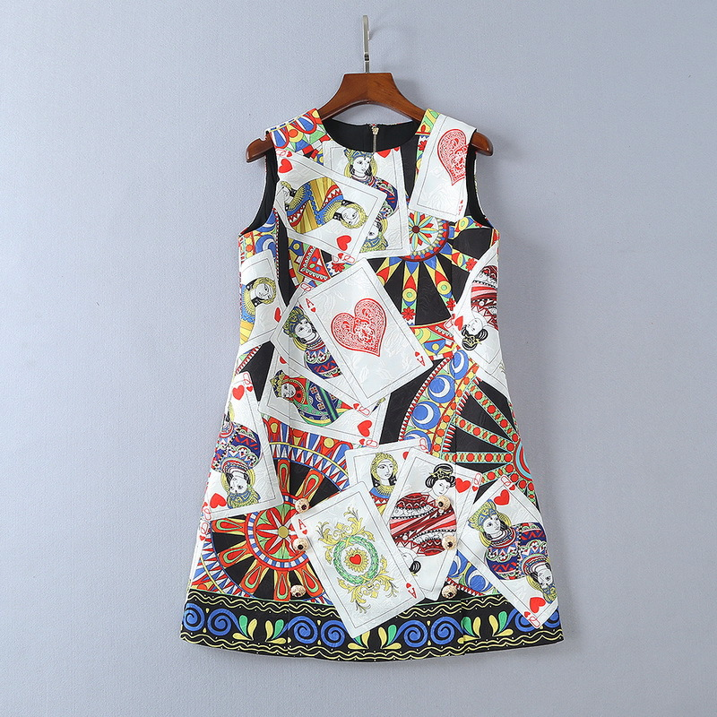 European womens wear 2018 The new spring sleeveless Round collar Card printing jacquard dress