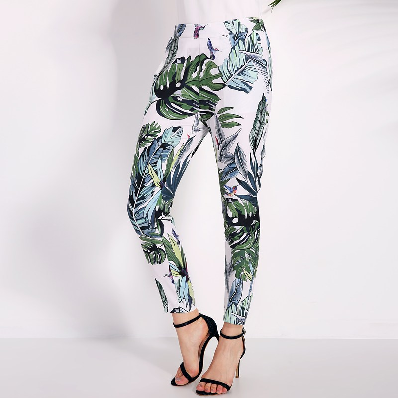2018 Summer Pants Women Floral Print Pencil Pants Ladies Vintage Casual Elastic Waist Long Trousers Pantalon Femme Hot Sale