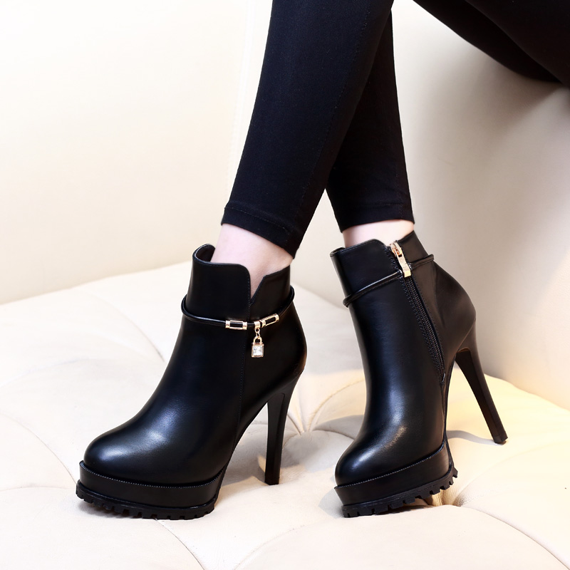 Side Zipper Martin Boots Women Autumn Winter Shoes Fashion High Heels Platform Ankle Boots Ladies Casual Shoes Black CH-B0038