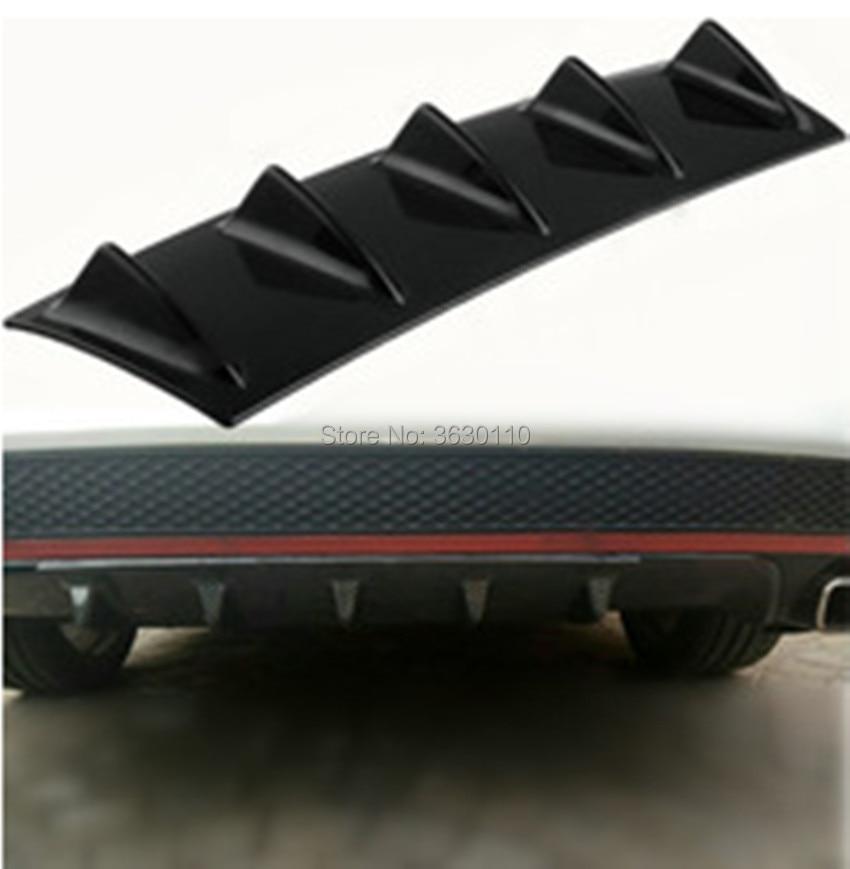 "23/""x6/"" Universal Car Lower Rear Bumper Lip Diffuser 5Fin Spoiler Gloss Black ABS"