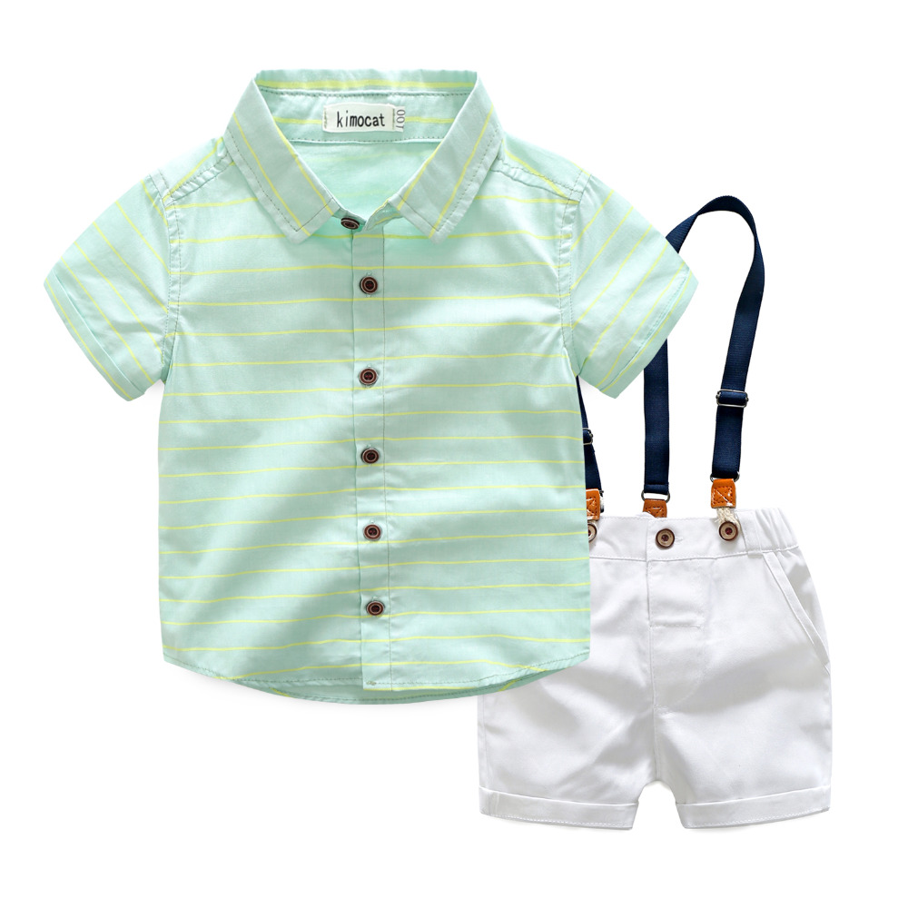 Summer Children Clothing Set Fashion Boys Suit Kids Clothes Cotton Short Sleeve Striped Shirt + White Suspender Shorts 2Pcs/Sets ujar brand dot patchwork short sleeve shirt boys shorts set childrens summer sets u52a705
