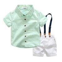 Yaz Çocuk Giyim Seti Moda Erkek Suit Çocuk Giyim Pamuk Kısa Kollu Çizgili Gömlek + Beyaz Askı Şort 2 Adet/takım
