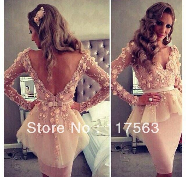 Myriam Fares Blush Pink V Neck Long Sleeves Lace Flowers Knee Length Peplum Celebrity Gowns Evening Dresses CD039