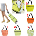Reusable Shopping Tote Bag with Foldable Wheels Trolley Adjustable Size Green