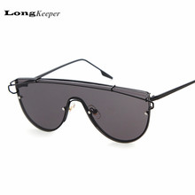 LongKeeper New Cat Eye Sunglasses Women Sexy Sun Glasses Half Round Rim Twin Beams Metal Eyewares 2017 New Gafas De Sol 6903