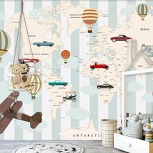 3D cartón aire caliente globos avión mundo mapa mural de papel pintado para niños habitación niños dormitorio Vintage papeles tapiz decoración del hogar