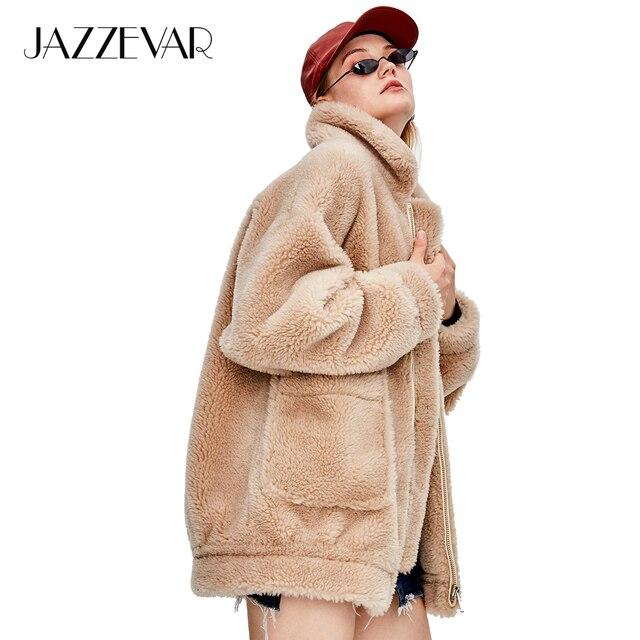 JAZZEVAR 2018 Winter New Fashion Street Womens Teddy Bear Icon Coat Real Sheep Fur Oversized Winter jacket Thick Warm Outerwear