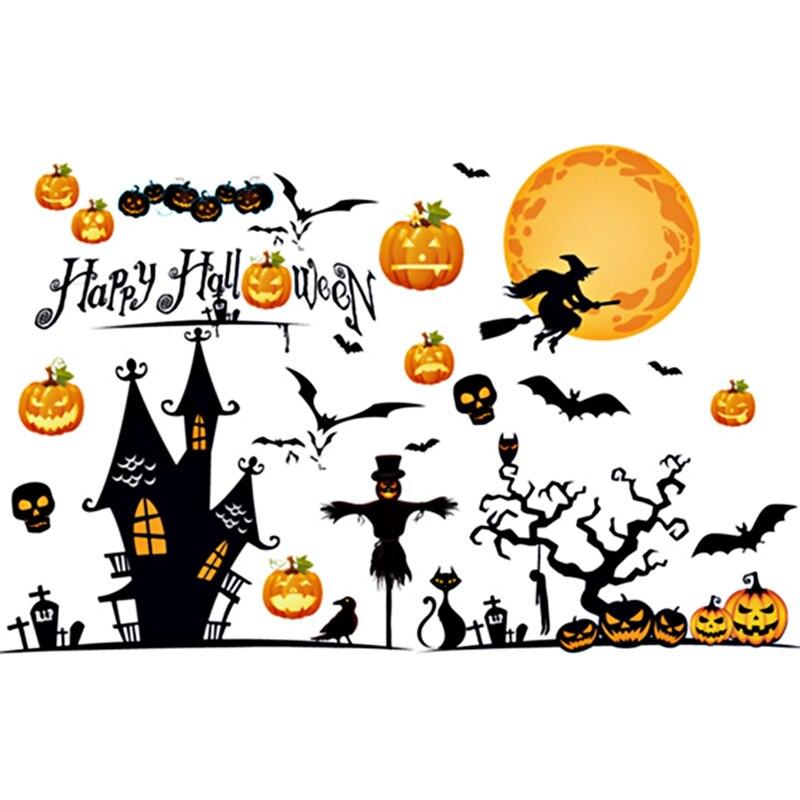 Happy halloween haunted house pumpkins bats cats wall - Cartoon haunted house pics ...