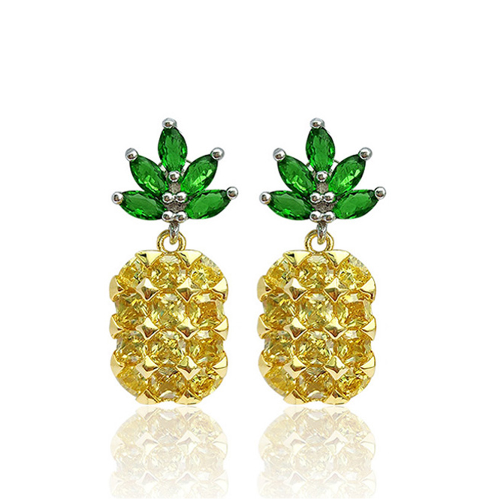Hot Fashion 100 925 Sterling Silver Pineapple Stud Earrings For Women Lady Authentic Original Jewelry Gift