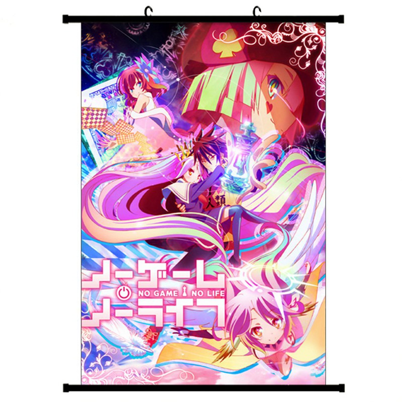 NO GAME NO LIFE Scroll Poster Japanese Anime Wall Hanging Poster Canvas Poster Home Bar Cafe Art Decoration 30X45/20X30cm