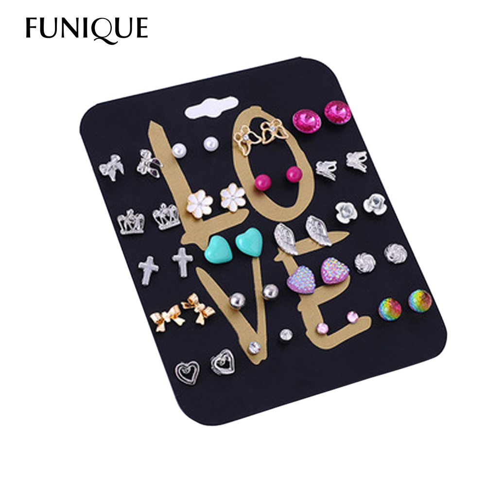 1Set/20pairs Love Mini Stud Earrings Set For Women Random Mixed Rose Earrings Set Flower Heart Love Pattern Earring Gifts