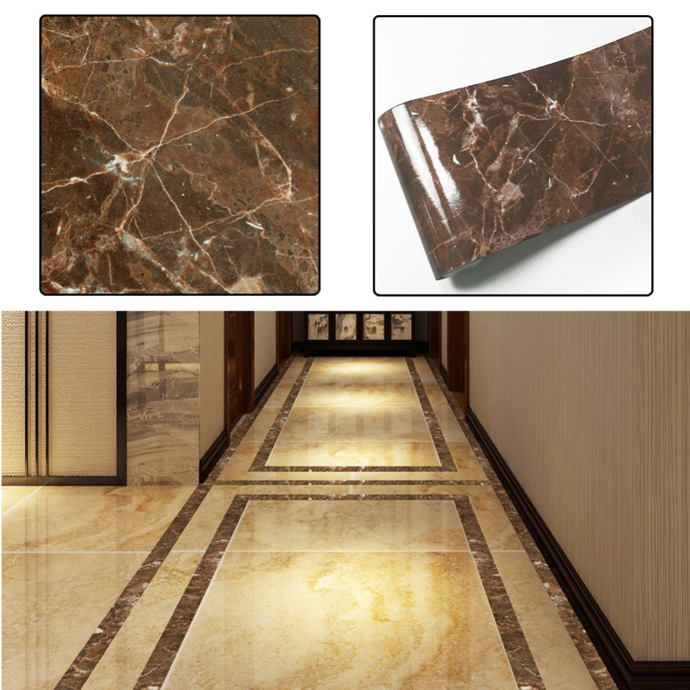 Us 3 45 20 Off Brown Marble Pattern Diy Tile Sticker High End Floor Decorative Line Stickers Flooring Wall 5 10 500cm In