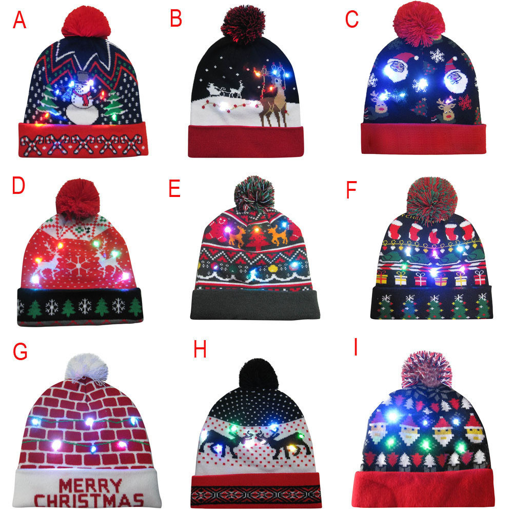 Novelty Led Light-up Knitted Beanies Hat Boys Ugly Sweater Holiday Xmas Christmas Luminescent Lantern Festive Cap Fiber Cap 12.5