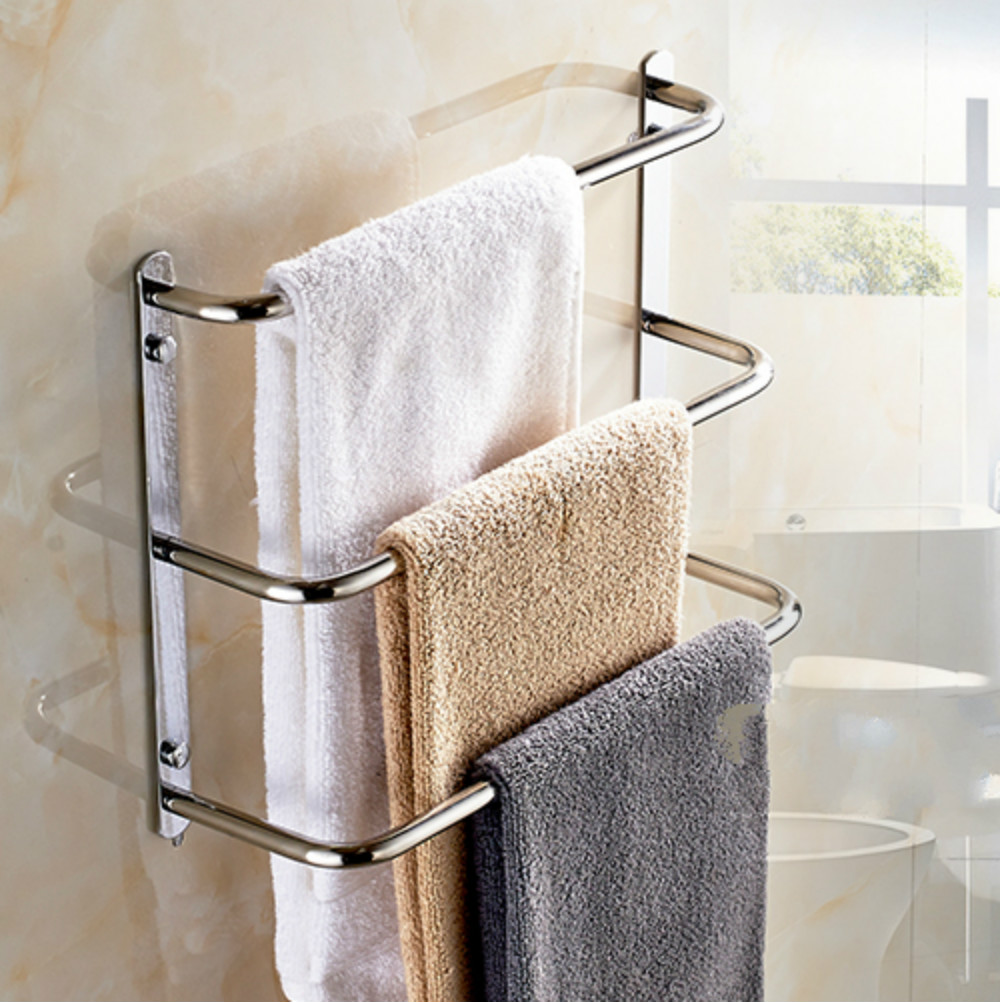 sus 304 stainless steel bathroom towel rack three balcony creative towel bar wall mounted bathroom towel