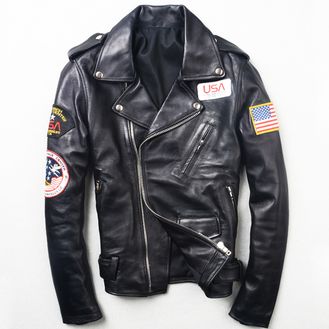 2017 New Men Slim Fit Genuine Leather Motorcycle Jacket Real Sheepskin Fashion Diagonal Zipper Winter Biker Coat FREE SHIPPING
