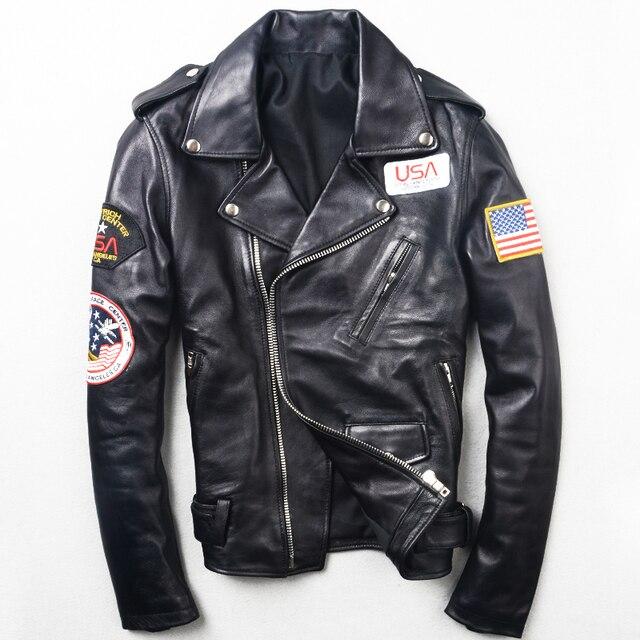 2017 Nuevos Hombres Slim Fit Moda Diagonal Zipper Motocicleta Chaqueta de Cuero de piel de Oveja Real Genuino Invierno Abrigo Biker ENVÍO GRATIS