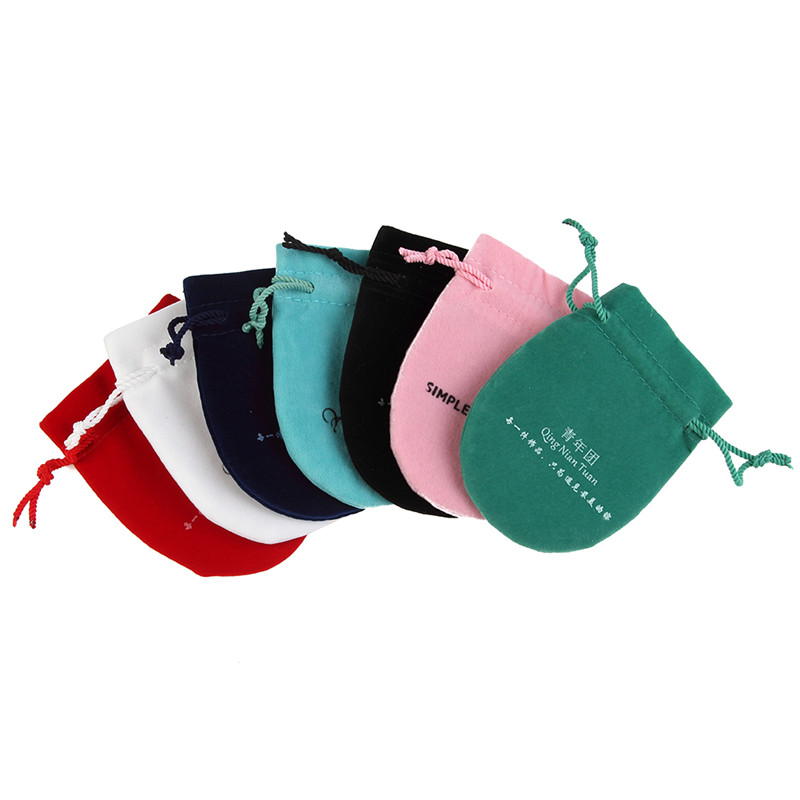 500pcs High Quality Semicircle Shaped Velvet pouch Drawstring Jewelry Bags Accept custom LOGO Wholesale
